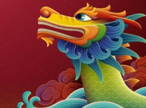Lovely dragon boat on red background, Duanwu holiday name written in Chinese words