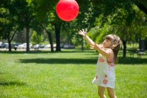 Girl catching ball